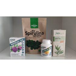 Méregtelenítő csomag - Máriatövis, Spirulina, D3-vitamin + ajándék Zöld tea