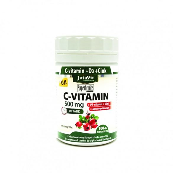 JutaVit C-vitamin 500mg nyújtott kioldódású + csipkeb. + D3 + Cink vitamin 100x