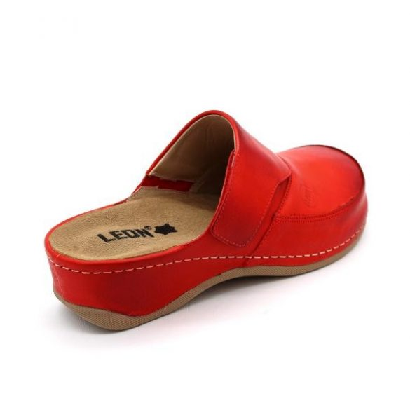 Leon 2019 Női bőr papucs - piros