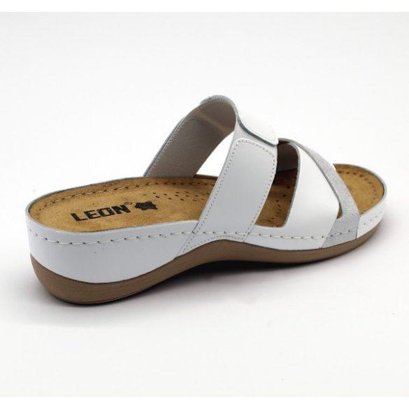 Leon 909 Női bőr papucs - fehér