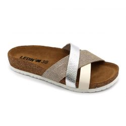 Leon 1201 Női bőr papucs - ezüst