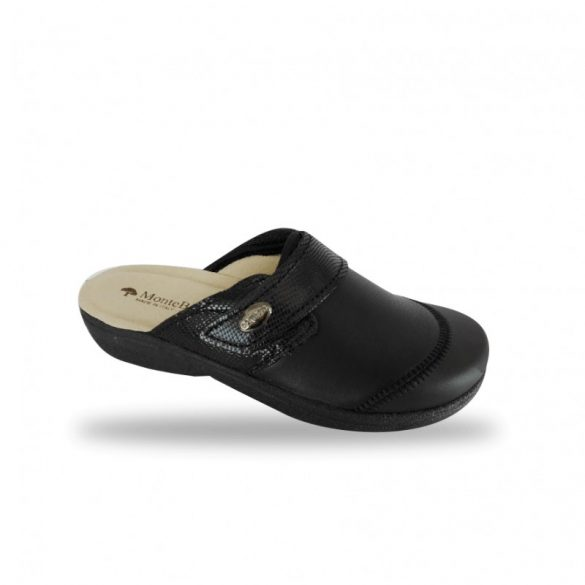 DrMonteBosco fehér női papucs - 1468 Nero elasztikus kímélő komfort papucs