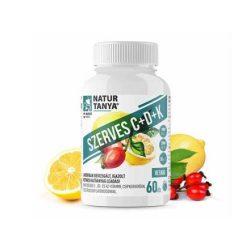 Natur Tanya® 1000 mg Retard C-vitamint, D3- és K2-vitaminokat, valamint csipkebogyó kivonatot és citrus bioflavonoidokat tartalmazó, szerves, nyújtott felszívódású tabletta 60x
