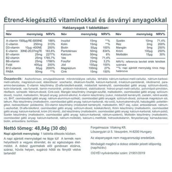 Vitaking Mega1 multivitamin 30x