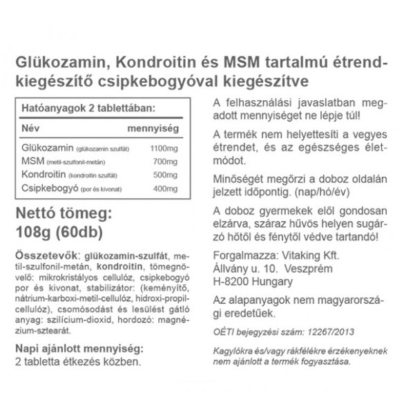 Vitaking Glükozamin + Kondroitin + MSM komplex 60x
