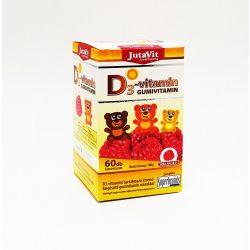 JutaVit D3-vitamin Gumivitamin málna ízű, 60x