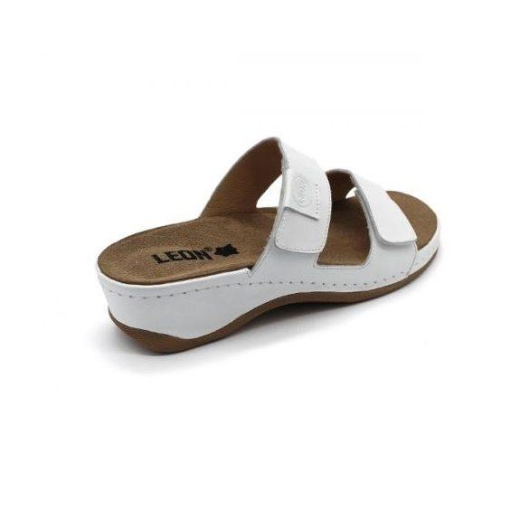 Leon 2020 Női bőr papucs - fehér