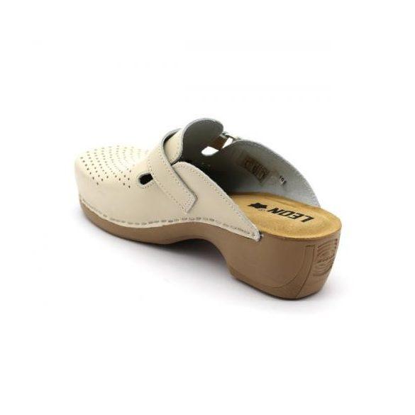 Leon PU159 női bőr papucs - bézs