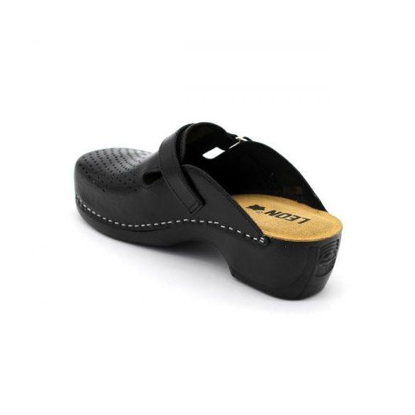 Leon PU159 női bőr papucs - fekete