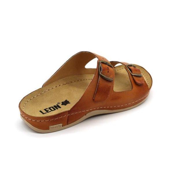 Leon 703 Férfi bőr papucs - barna