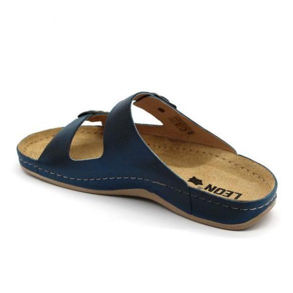 Leon 703 Férfi bőr papucs - kék