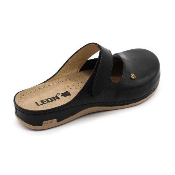 Leon 953 Női bőr papucs - fekete