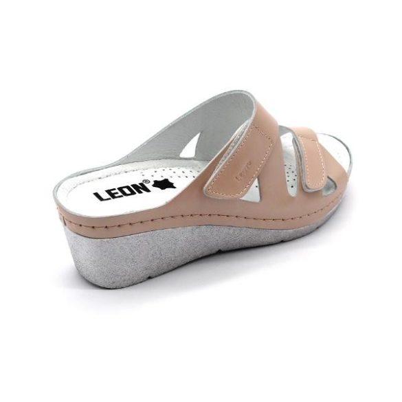 Leon 1004 női bőr papucs - losos