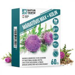 Natur Tanya® Szerves Máriatövis mag kivonat kolinnal - 160mg szilimaron tartalommal a máj egészségéért 60x