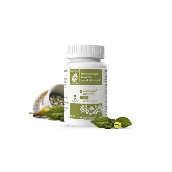 Natur Tanya® Szerves Zöld kávé tabletta - Testsúlycsökkentő, 50%-os klorogénsav tartalommal 60x