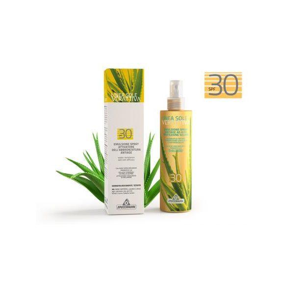 Specchiasol® Verattiva® 30 faktoros Napozó spray - Arcra/Testre. Nem tartalmaz: paraben, alkohol, OGM, SLES, SLS. 200 ml