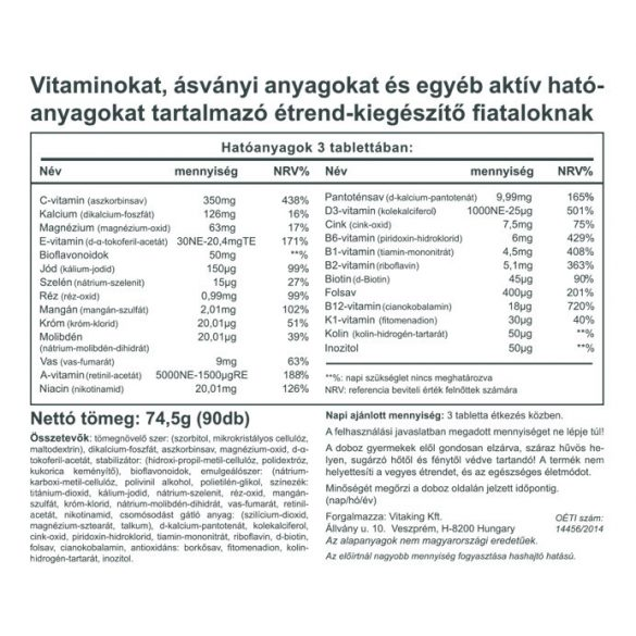 Mega Vitamin Tiniknek 90 db