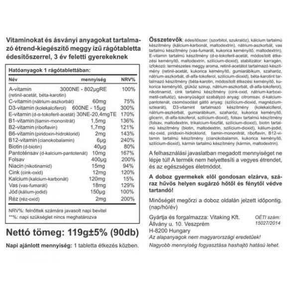Vitaking Multivitamin rágótabletta gyerekeknek 90x