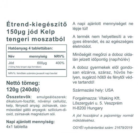 Vitaking Jód (Iodine) 150mcg 240x