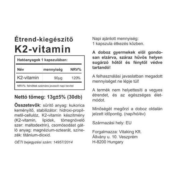 Vitaking K2 vitamin 90 µg 30x