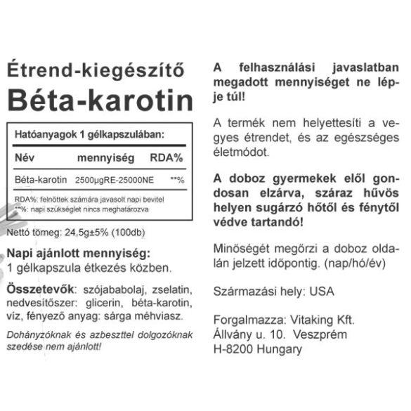Vitaking Béta-karotin 25000NE 100db